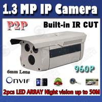 IP Camera 1.3 Megapixel up to 50M Night Vision IR Waterproof CCTV hd network Camera Onvif  960P