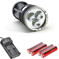 New 6000Lm Waterproof 3x CREE XM-L XML T6 LED Flashlight 4x 18650 30W Lamp Light Torch
