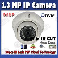 PnP 960P HD 1.3 MegaPixel IP Camera ONVIF IPCAM IR Night vision Network Dome Camera POE optional Free Shipping