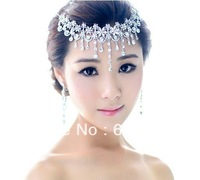 New 2014 Free Shipping Luxurious Tassel Crystal Bridal Jewelry Sets African Jewelry Set Wedding Jewelry frontlet and Earrings