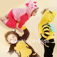 5Set Baby Boys Girls Cartoon Animal Long Sleeve Hooded Coat Jacket+PP Pants 2Pcs Set Children Thickening Leisure Sports Suit