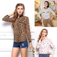 High quality Fashion Women's Blouses Tops Sexy Shirts Casual Leopard Women Chiffon Shirt