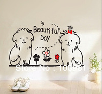 Bears And Flowers Beautiful Day Wall Decals Decor Removable Wall Stickers  kid vinyl children Living Room Bedroom Home Decals