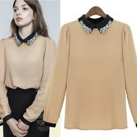 New!!Spring/Autumn Casual Lace women's shirt,Dll Show Long-Sleeve Chiffon  T-Shirt , Ladies' Tees, Free Size free shipping