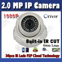 HD IP Camera PnP 1080P 2.0 MegaPixel Network Camera ONVIF IR 30m Night vision Network Dome Camera POE optional Free Shipping
