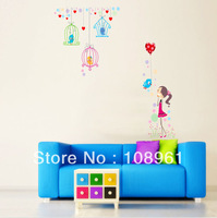 Free shipping big size fashion colorful birdcage  Lovely Girl Kid children room bedroom home decor wall decals stickers