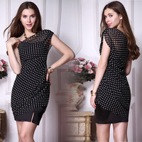 HE03873BK One Shoulder Black Polka Dotted Women's Chiffon Casual Dress