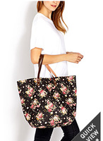 4 Colors Free shipping 2014 New Arrival Flower Printing Totes Vintage  Tote Bag Fashion Women Handbags With Roses QQ1694