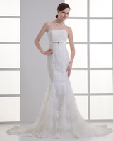 2014 newest fashion sexy Court Train Strapless Mermaid Wedding Dress plus size wedding dresses customize