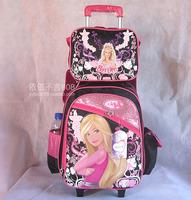 Black Pink Princess Children Trolley School Bags SET Mochilas Kids Cartoon Trolley Backpack Kit + Small Bag Travel Bag on Wheels