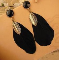 (mix order) Free Shipping & Fashion accessories pull style feather drop earring earrings TJ-3.49