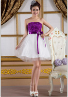 2013 new bridesmaid wedding strapless short mini party evening purple lace-up dress