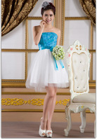 2013 new bridesmaid wedding strapless short mini party evening blue lace-up dress