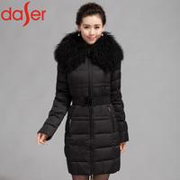 New 2014 Fashion Brand Daser  Winter 100% White Duck Down Jacket Slim Thickening Clothing Female X-long Wool Collar Down Coat