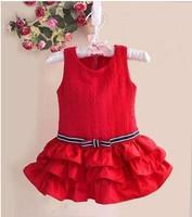 Retail 1pcs free shipping top quality girl red mini dresses lace cake bow dress kids fashion princess dress in stock