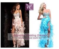 APL3358 Instock  Blue or Pink Organza Rhinestone  Asymmetrical Long Prom Dresses 2014
