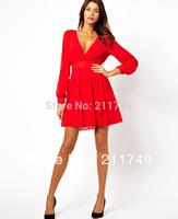 Free shipping Red&black solid Women's Long Sleeve Deep V front&back sexy party dress slim waist chiffon short dress