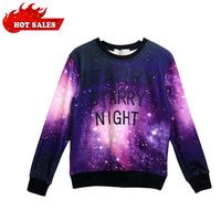 2013 Fashion Women/Men Print Galaxy 3d Hoodies Sweatshirts Purple Universe Sweaters Top free shipping cashmere sweater