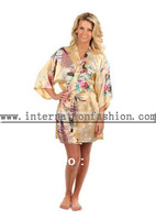 Free Shipping 2014 New Arrived Woman Chinese Silk Satin Short Kimono Robes MOQ 1 PC