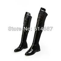 Shinny black patent leather thigh high boots for women flat over knee boots Fashion punk style Fall booty shoes size 34-40