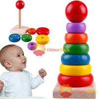 [ChinaStock] New Kids Children Wooden Rainbow Stacker Classic Sensory Educational Toy Gift wholesale