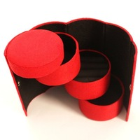 Women Scarlet Cylinder Accessories Cases Red 3 layer Jewelry Holder Organizer Gift Boxes Casket Display Free Shipping 670445