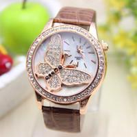 10 colors New Fashion Butterfly watch PU leather women rhinestone watches for women dress watch quartz watch