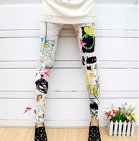 Free shipping Fashion Girl's Jegging Spandex Butterfly painted doodle legging large elastic ankle length trousers