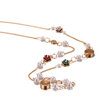 Camellia necklace long design accessories vintage fashion all-match rose gold pearl necklace hangings female