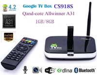 Quad Core Allwinner A31s 1GB/8GB Android 4.2 TV Box CS918S Built in 2.0MP Camera Mic Bluetooth RJ45 4k player xbmc Free shipping