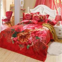 Red Flowers Oil Painting 3d comforter cover queen 4pcs quilt/duvet cover bed linen bedclothes bedding set cotton home textile