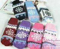 Free Shipping 2pairs/lot Women Snowflake Pattern Winter Warm Knitting Wool Knitted Gloves Thicken