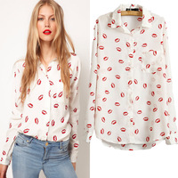 Hot-selling New 2013 autumn women all-match red lips sexy shirts EUROPE style white black man-made silk blouses for women S,M,L