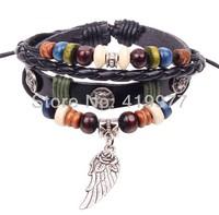 New Fashion Braided Cord Leather Wing Flower Bracelet Hemp Surfer Wristband Bangle Free Shipping