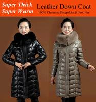 2014 Winter  Women Geunine Natural Sheepskin Leather Fox Fur Collar Hood Super Thick Warm 380g Down Fill Long Jacket Coat Parka