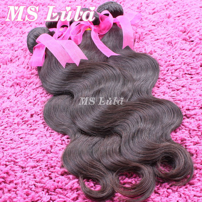 free shipping unprocessed hair 3pc lot 100 malaysian virgin hair body wave no tangle no shedding full and thick luffy hair(China (Mainland))
