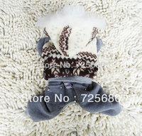High Quality Fashion Dog Pet Clothes Dog Snowsuit Jumpsuit Warm Winter Hoodies--Gray snow