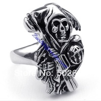 Hot Stunning Solid Silver 316L Stainless Steel Death Sons Of Anarchy Biker Jewelry,Punk Cool Skull Ring for mens US size 8-16