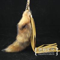 1Pcs Genuine Red Fox Tail Keychain Fur Tassel Bag Tag Charm,keyring