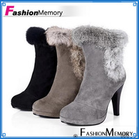 Free shipping ankle boots rabbit women fashion short boot winter footwear high heel shoes sexy snow warm Big size 34-43 WB268