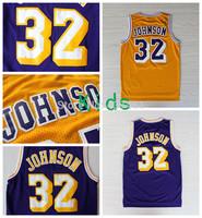 Magic Johnson Kids Jerseys , #32 Magic Johnson White Yellow Purple Rev 30 Basketball Jersey For Kids ,Size: S-XL, Free Shipping