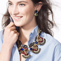 2014 fashion JC brand ethnic color cute pendant necklace with earring statement long design body chain collar women jewelry set