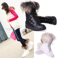 new 2013 Winter fox fur shoes women  flats snow boots warm cotton boots women motorcycle boots  free shipping
