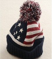 Freeshipping Hiphop USA american national flag star  Beanies caps wool winter warm knitted hats Skullies