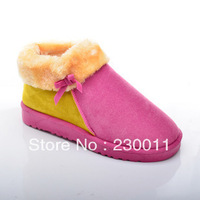 Korea Style sweet patchwork flat keel bowknot lining material fur short boots