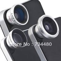 Silver 4 in 1 180 Degree Fisheye Lens + Wide Angle Lens + Macro Lens + Telephoto Lens for iphone5s Samsung Note3 Galaxy S4