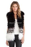 FREE SHIPPING new 2014 autumn winter Plus Size simple fashion Slim stitching gradient color women fur vest  XS-XXL