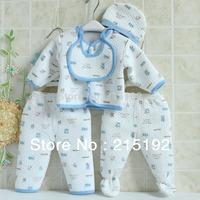 5pcs 100 COTTON newborn infantis outfits ,warm soft long sleeve children clothing set for boys & girls free shipping C001#