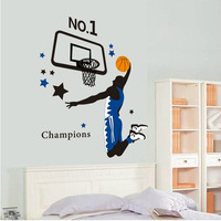 90*100cm Basketball Boy Nursery Vinyl Wall Decals Kids Room Decoration 3D Wall Stickers For Children Book Shelf  Home Decor
