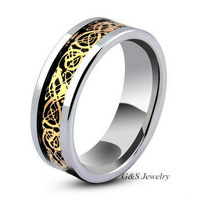 G&S Jewelry 7mm/5mm Black Tungsten Carbide Band Dragon Design Mens Ring, Color Black Silver Gold Free Shipping G&S015WR